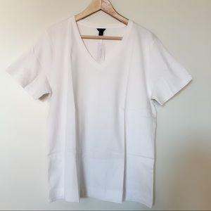 Ann Taylor 100% cotton v neck white tee